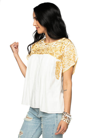 BuddyLove Short Sleeve Soft Embroidered Shirt Gold