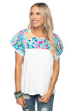 BuddyLove Greek Short Sleeved Embroidered Top - Pastel