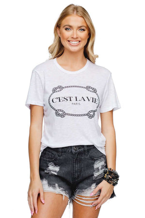 BuddyLove Harrison Heathered White Cotton Graphic Tee - Cest La Vie - Buddy Love Clothing Label