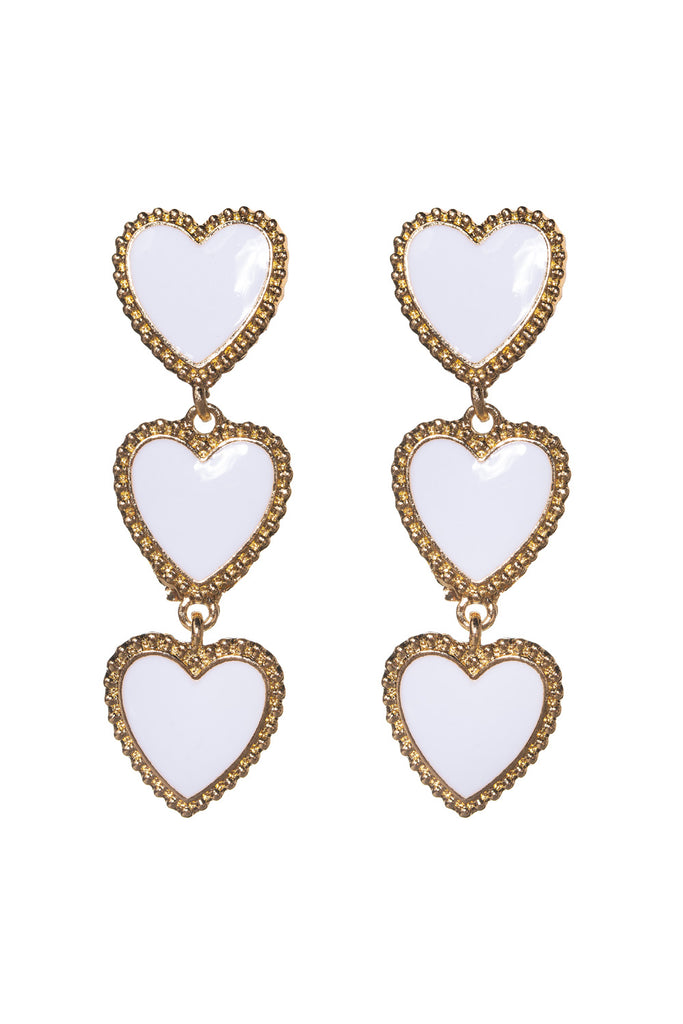 BuddyLove Heart Drop Earring - White,White
