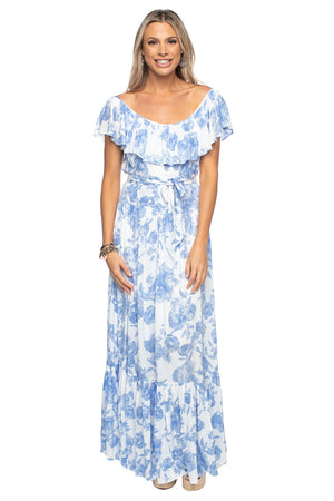 BuddyLove Heather Ruffled Bust Maxi Dress - Tea Party,XS / Blue / Florals