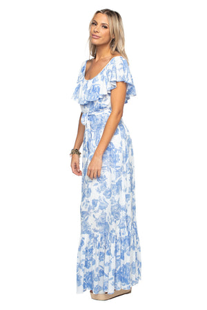 BuddyLove Blue White Floral Maxi Dress