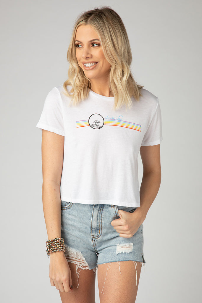 BuddyLove Kliff Cropped Graphic Tee - Vacay Vibes,S / White