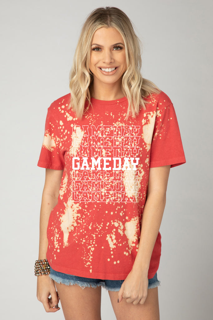 BuddyLove Kyler Bleached Graphic Tee - Gameday Gameday,S / Red / Tie Dye