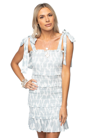 Tie Shoulder Smocked Mini Dress