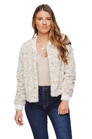 BuddyLove Lena Faux Fur Lined Bomber Jacket - White Grey