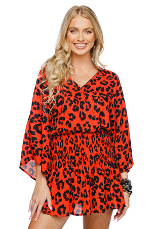 BuddyLove Lennox Smocked Waist Mini Dress - Fire