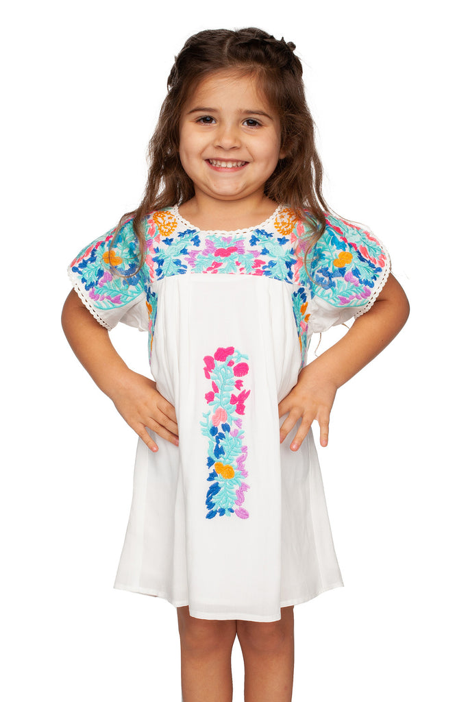 BuddyLove Lola Embroidery Dress - Pastel,12M / White / Embroidery