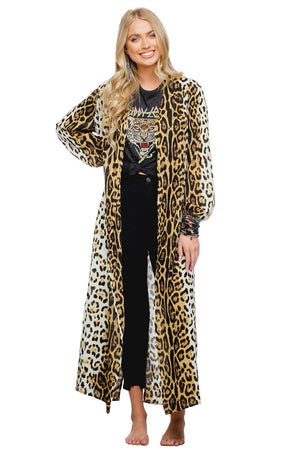 BuddyLove Loretta Women's Long Sleeved Duster - Leopard Animal Print