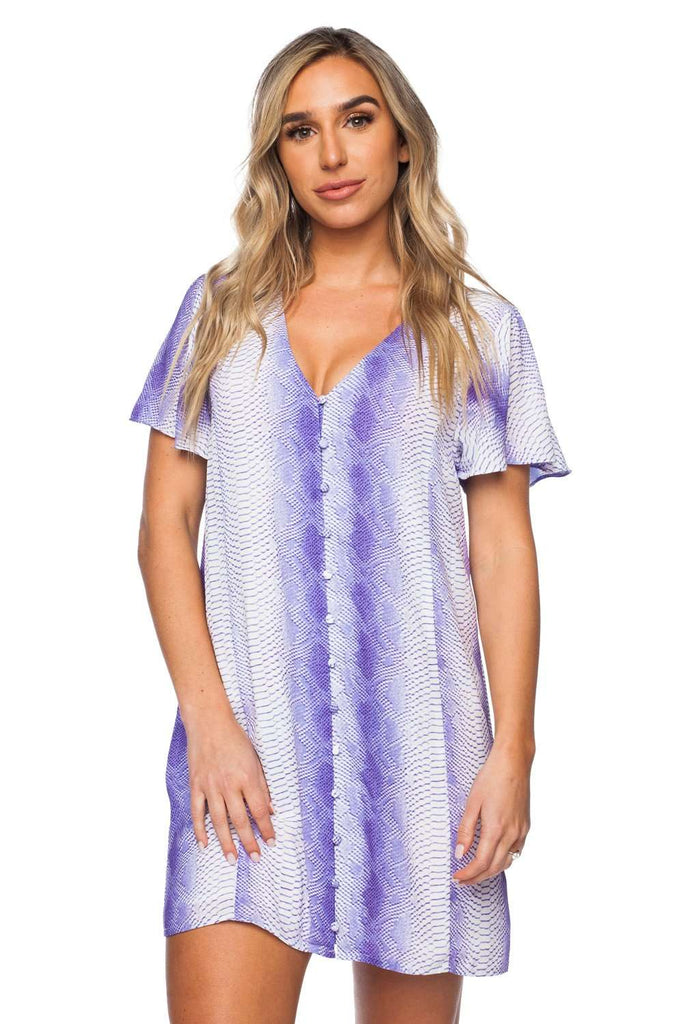 BuddyLove Hailey Fluttered Short Sleeved Button Up Mini Dress - Purple - Buddy Love Clothing Label