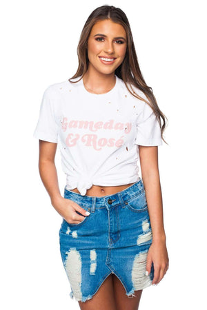 BuddyLove Zeppelin Graphic Distressed Tee - Gameday and Rose