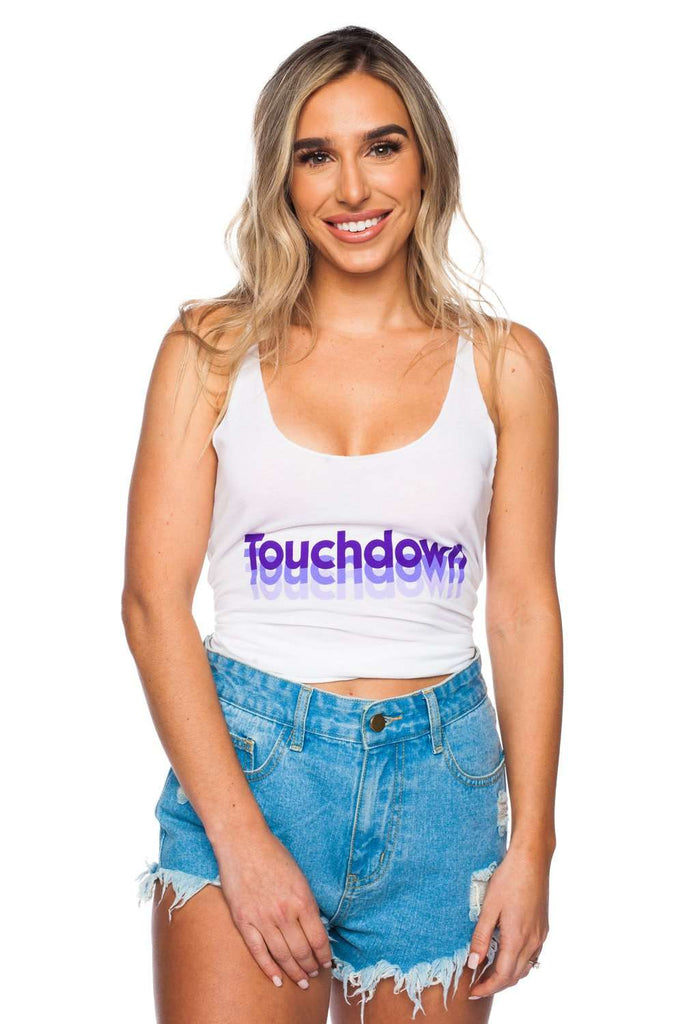 BuddyLove Case Graphic Tank Top - Touchdown Purple,S / White