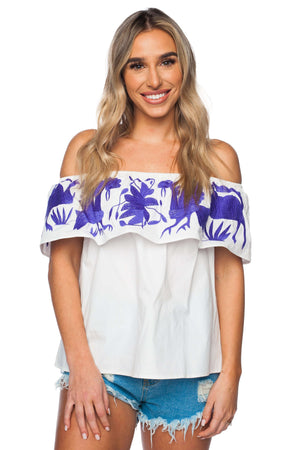 BuddyLove Birdie Ruffled Off the Shoulder Embroidered Top - Purple - Buddy Love Clothing Label