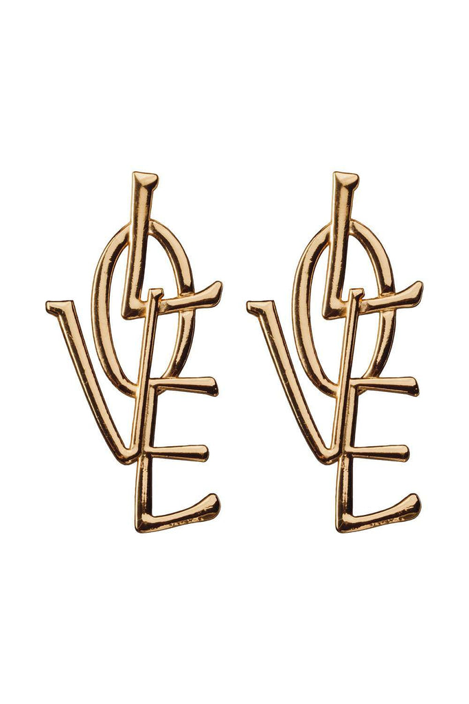 BuddyLove LOVE Earrings - Gold - Buddy Love Clothing Label