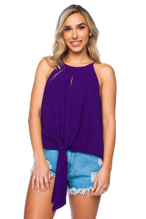 BuddyLove Candice Tie Front Tank Top - Purple - Buddy Love Clothing Label