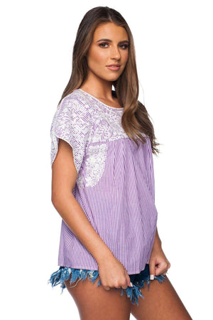BuddyLove Elizabeth Short Sleeved Embroidered Top - Purple - Buddy Love Clothing Label