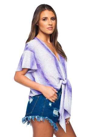BuddyLove Rah Rah Fluttered Short Sleeves Tie Front Top - Purple - Buddy Love Clothing Label