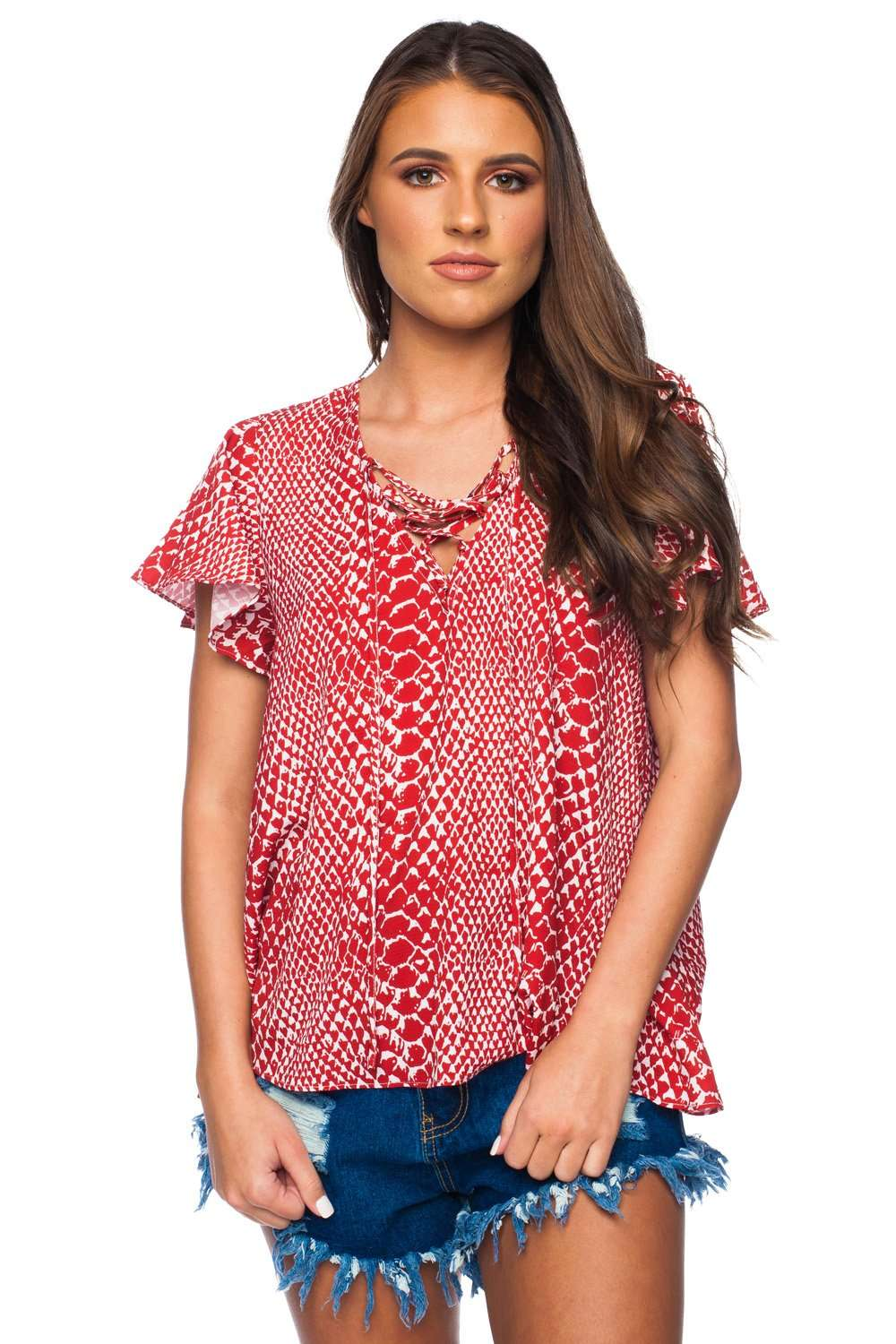 BuddyLove_Unity_Laced_Up_Short_Sleeved_Top__Crimson__XS_Red