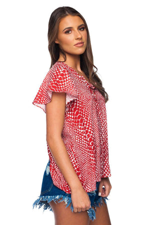 BuddyLove Unity Laced Up Short Sleeved Top - Crimson