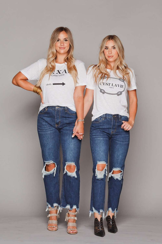 BuddyLove Rosco High-Waisted Distressed Boyfriend Jeans - Dark Blue - Buddy Love Clothing Label