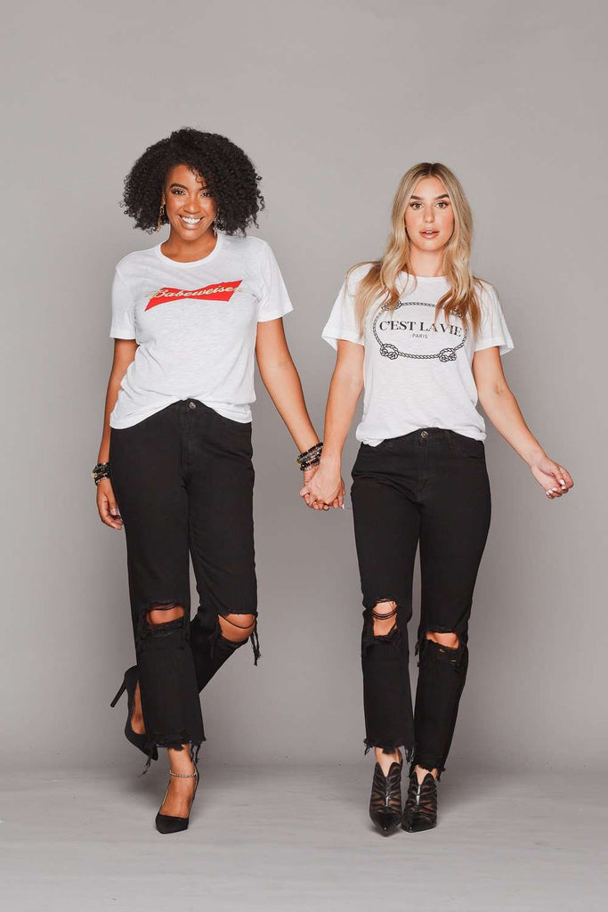 BuddyLove Rosco High-Waisted Distressed Boyfriend Jeans - Black - Buddy Love Clothing Label