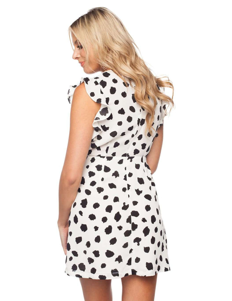 BuddyLove Tie Front Fluttered Sleeve Mini Dress - Dalmatian - FINAL SALE