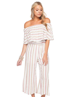 BuddyLove Josephine Off the Shoulder Cropped Jumpsuit - Pink Stripe - FINAL SALE - Buddy Love Clothing Label