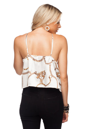 BuddyLove Jacobs Adjustable Straps Ruffled Edge Short Tank Top - Ivory Chains - Buddy Love Clothing Label