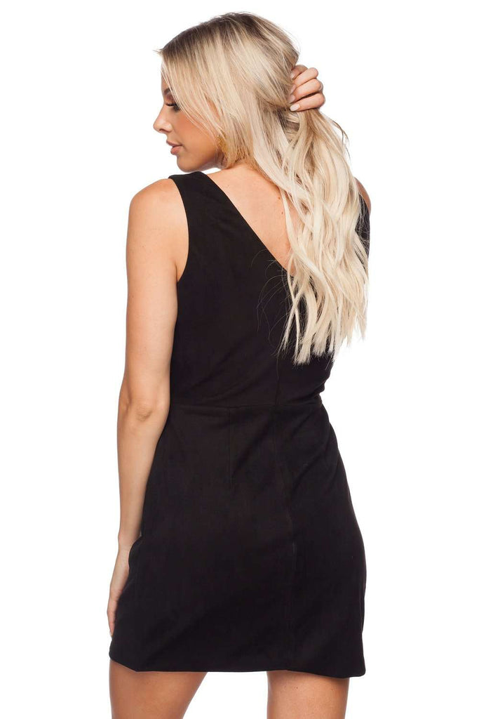 BuddyLove Stevie Fitted Cut Out Suede Dress - Black - Buddy Love Clothing Label