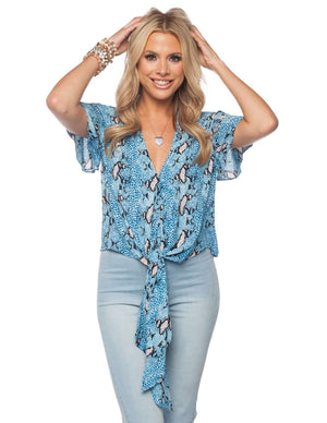 BuddyLove Rah Rah Fluttered Short Sleeves Tie Front Top - Cobalt - Buddy Love Clothing Label