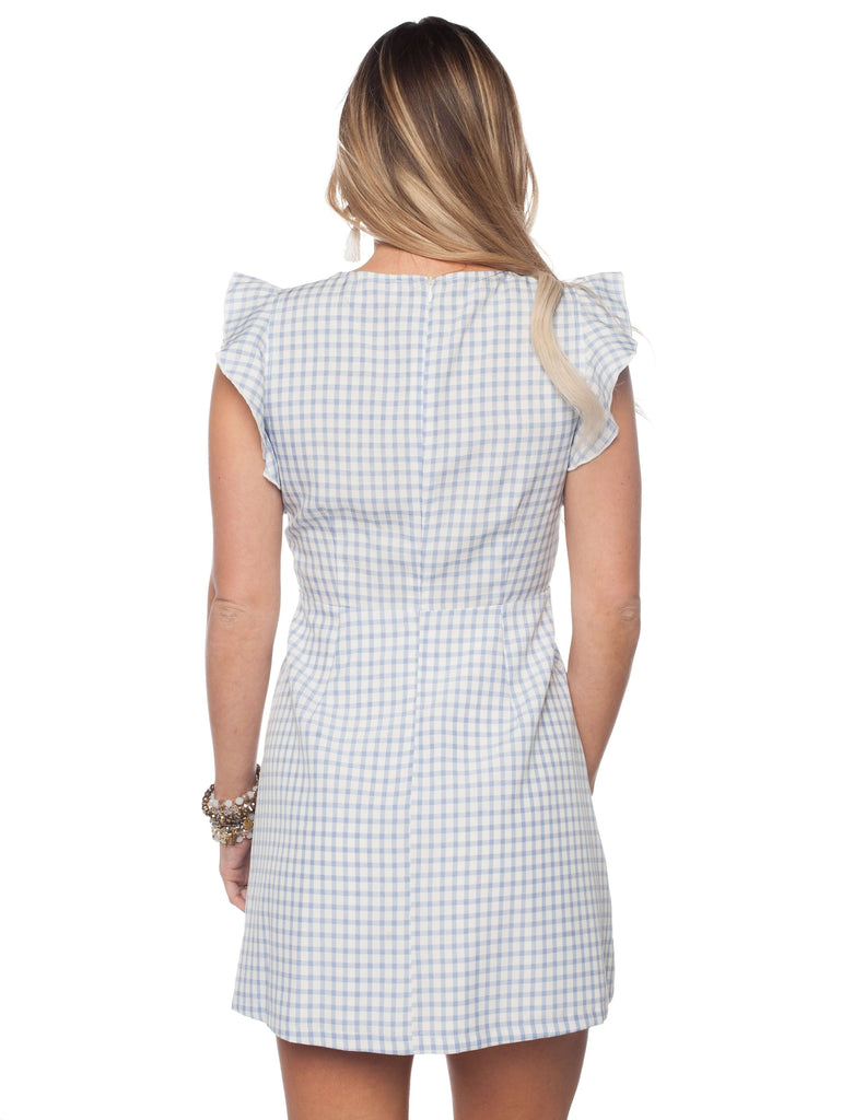 BuddyLove Twiggy Tie Front Fluttered Sleeve Mini Dress - Blue Gingham