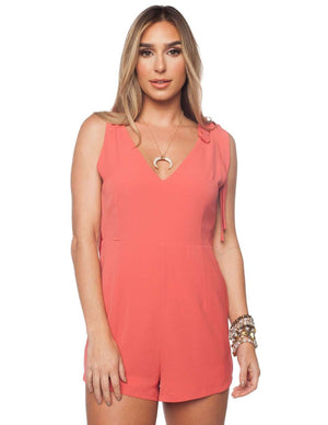 BuddyLove Joan Tie Shoulder Romper - Coral - Buddy Love Clothing Label