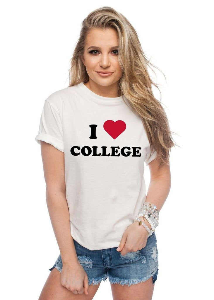 BuddyLove Van Solid White Cotton Graphic Tee - I Love College