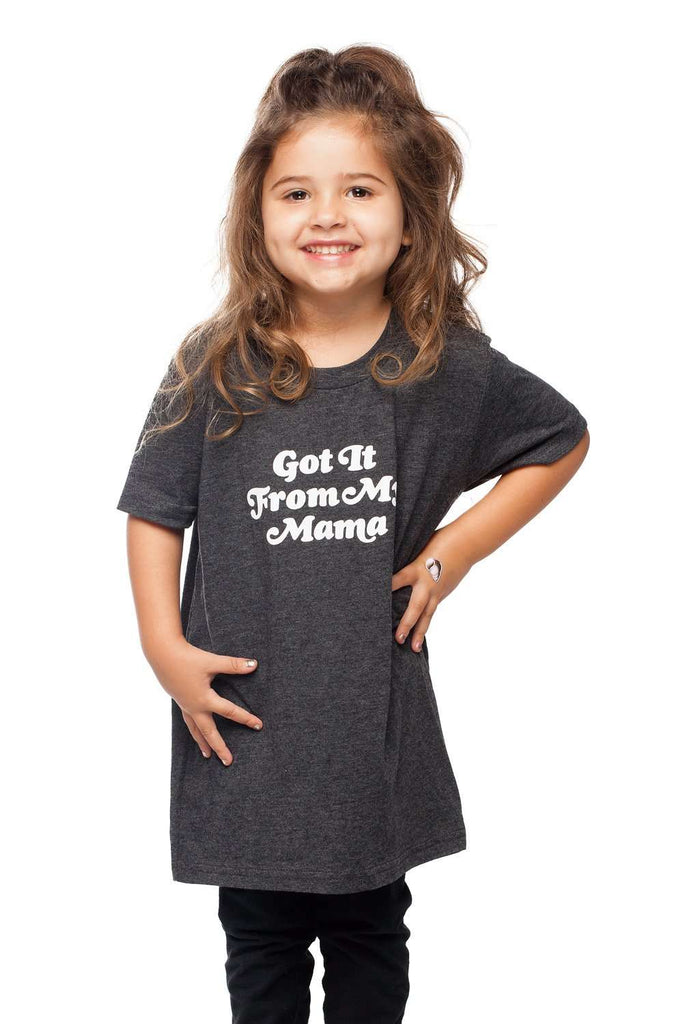 BuddyLove Selena Heathered Grey Kids Graphic Tee - Got it from my Mama - Buddy Love Clothing Label