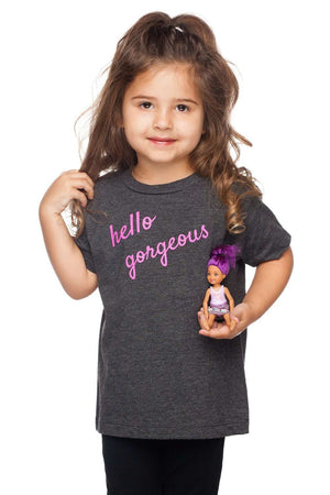 BuddyLove Gomez Heathered Grey Kids Graphic Tee - Hello Gorgeous - Buddy Love Clothing Label
