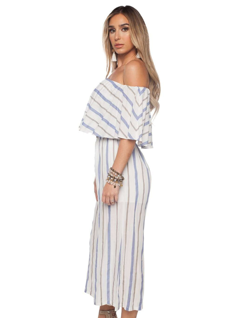 BuddyLove Josephine Off the Shoulder Cropped Jumpsuit - Blue Stripe- FINAL SALE - Buddy Love Clothing Label