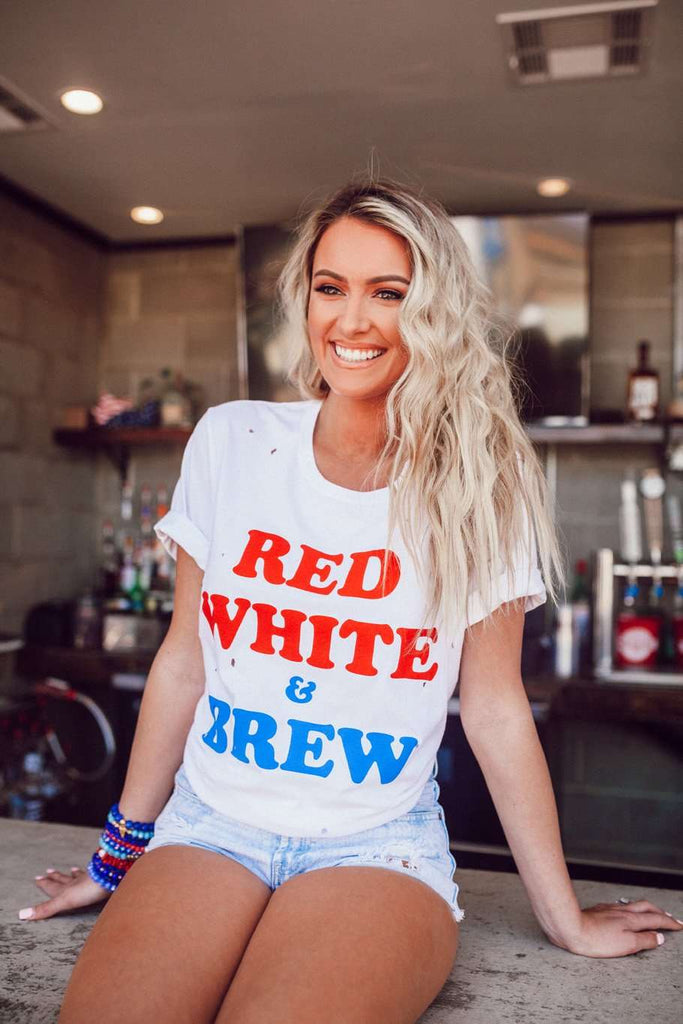 BuddyLove Van Solid White Cotton Graphic Tee - Red White & Brew- FINAL SALE