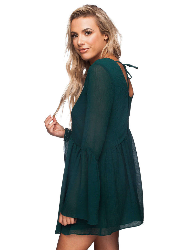 BuddyLove Hall Long Sleeved Dress - Emerald - Buddy Love Clothing Label