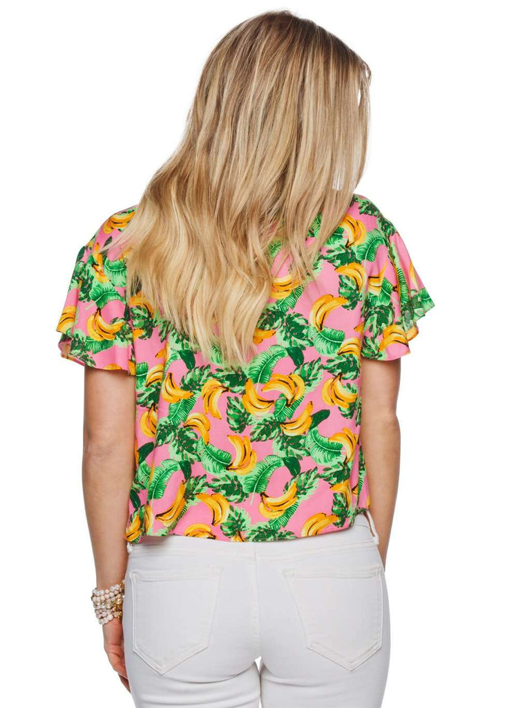 BuddyLove Havana Tie Front Fluttered Sleeve Top - Bananas - Buddy Love Clothing Label