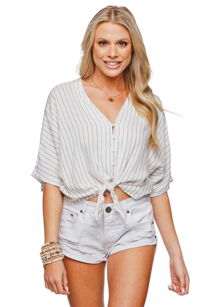 BuddyLove Marco Tie Front Button Up Short Sleeved Top - White Stripe,XS / White / Stripes