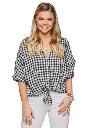 BuddyLove Marco Tie Front Button Up Short Sleeved Top - Black Gingham - Buddy Love Clothing Label