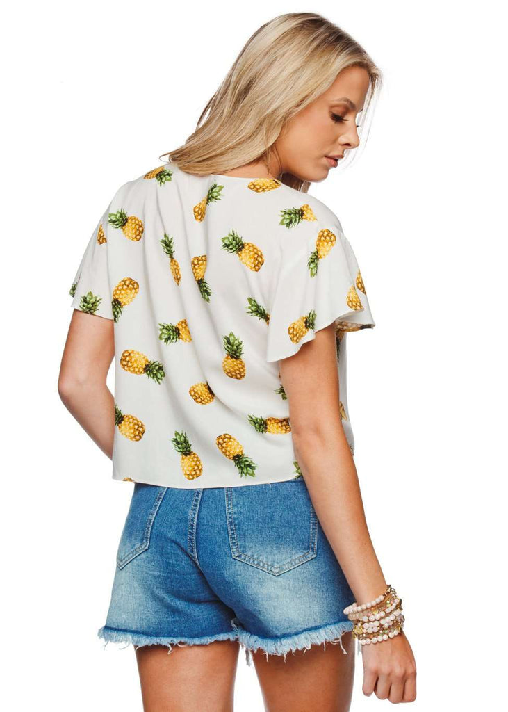 BuddyLove Havana Tie Front Fluttered Sleeve Top - Pineapple - Buddy Love Clothing Label