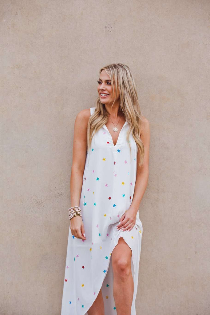 BuddyLove Campbell V-Neck High-Low Maxi Dress - Rainbow Star - Buddy Love Clothing Label