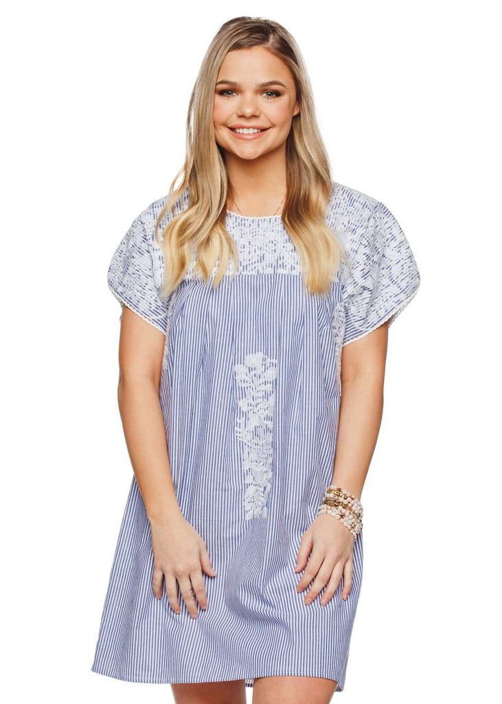 BuddyLove Alessandra Short Sleeved Embroidered Mini Dress - White - FINAL SALE - Buddy Love Clothing Label