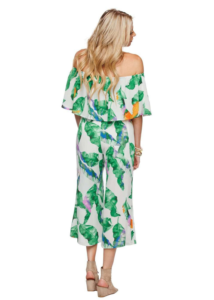 BuddyLove Josephine Off the Shoulder Cropped Jumpsuit - Purple Palm - FINAL SALE - Buddy Love Clothing Label