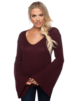 BuddyLove Viera Extra Long Bell Sleeve Sweater - Wine - FINAL SALE