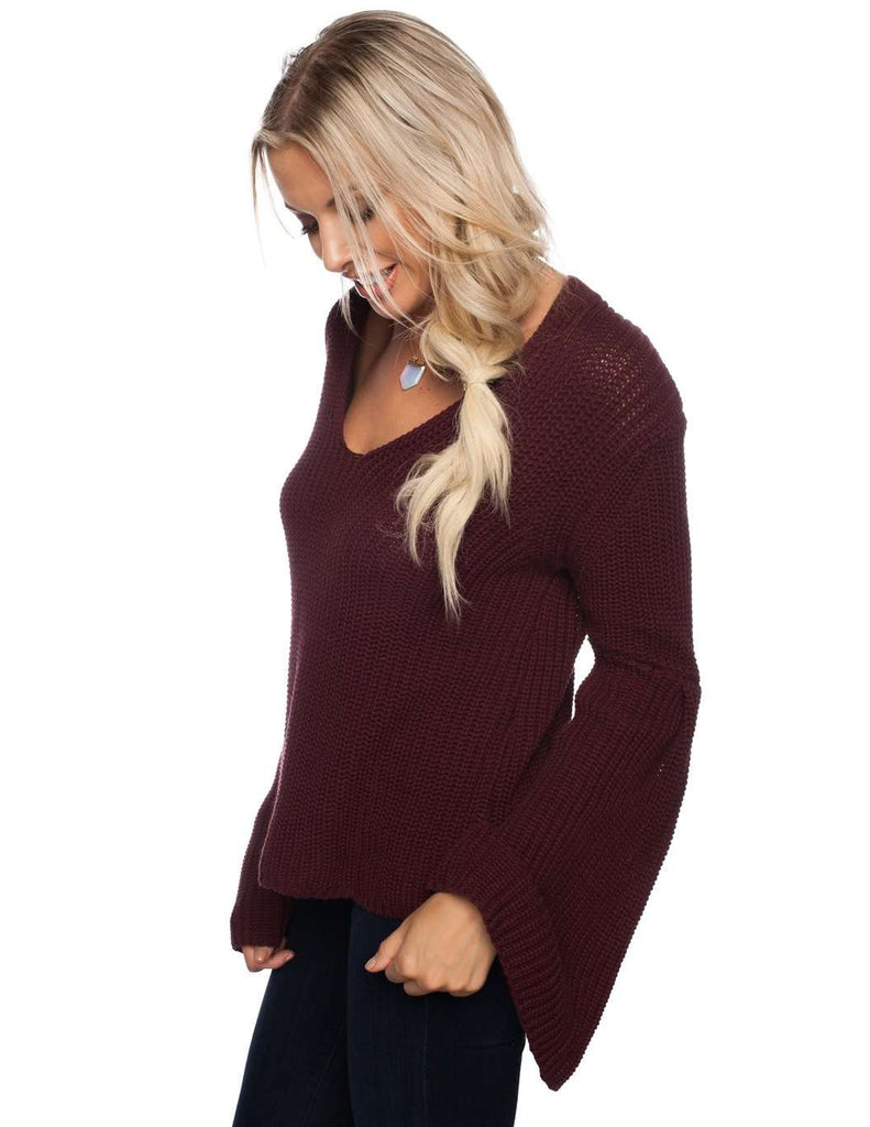 BuddyLove Viera Extra Long Bell Sleeve Sweater - Wine