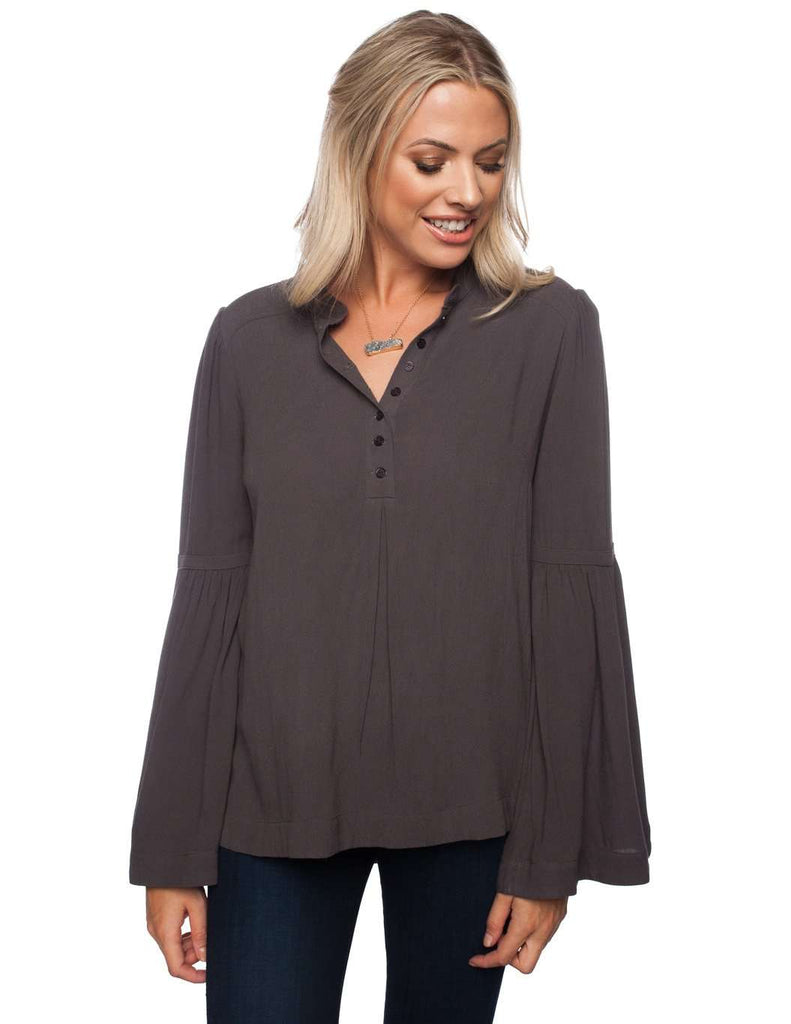 BuddyLove Winfrey Long Sleeve Button Top - Grey - FINAL SALE