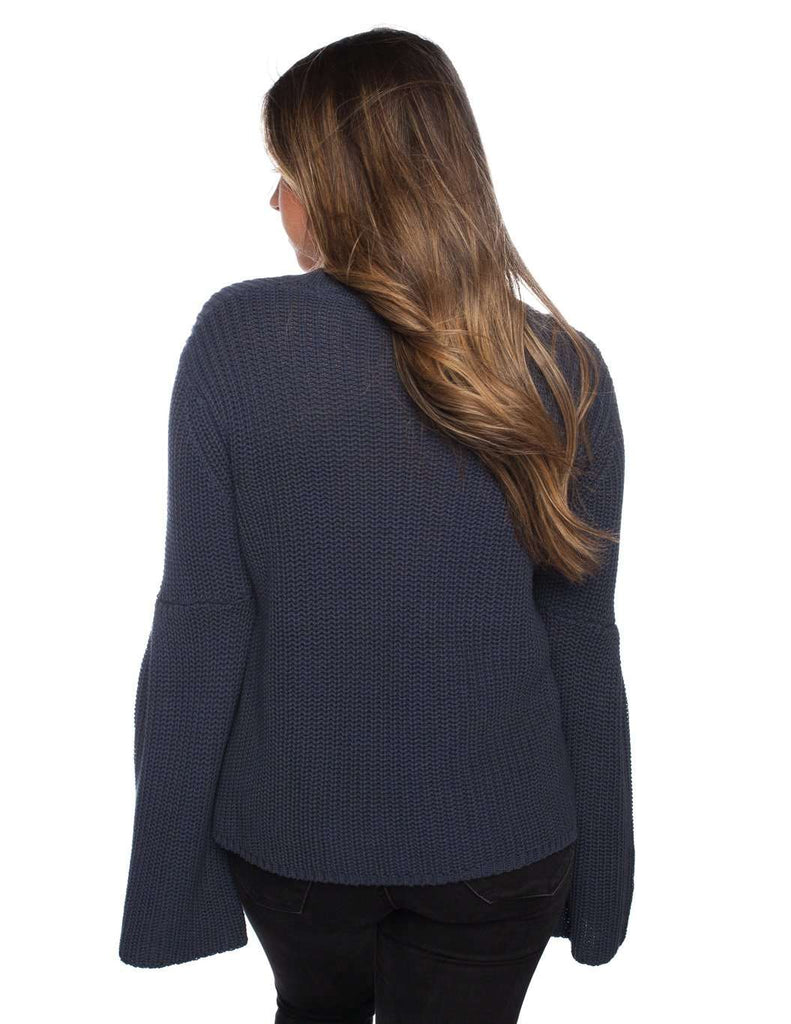 BuddyLove Viera Extra Long Bell Sleeve Sweater - Slate - FINAL SALE