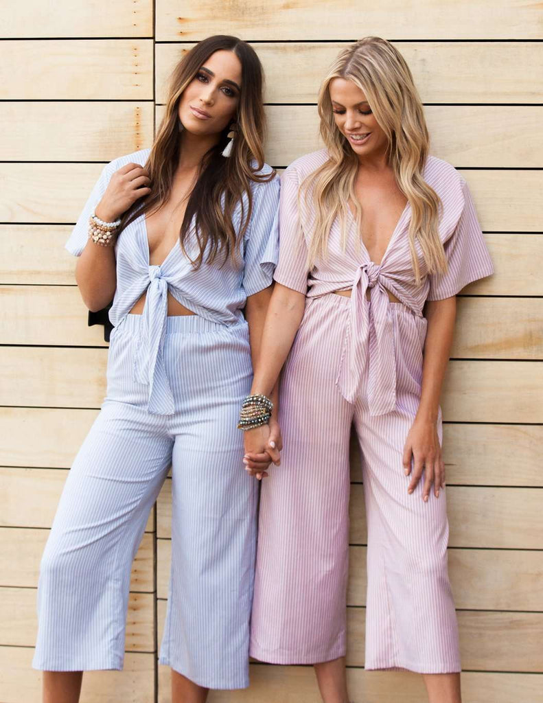 BuddyLove Ilene Cut Out Tie Front Jumpsuit - Blue Stripe - Buddy Love Clothing Label